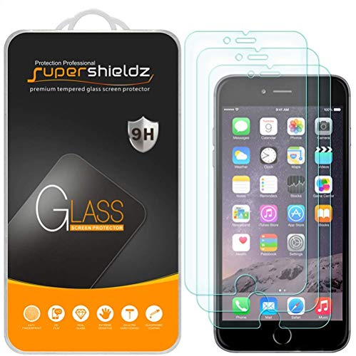 [3-Pack] Supershieldz for Apple iPhone 6S / iPhone 6 Tempered Glass Screen Protector, Anti-Scratch, Anti-Fingerprint, Bubble Free, Lifetime Replacement Warranty