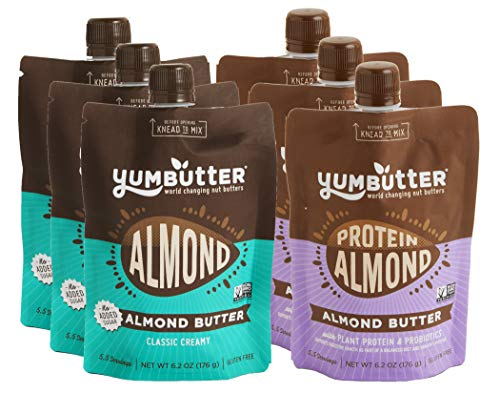 Keto Nut Butter Variety Pack by Yumbutter – Creamy Almond Butter and Plant Protein Almond Butter, Paleo, Gluten Free, Vegan, Non-GMO, 6.2 oz Pouch – Pack of 6