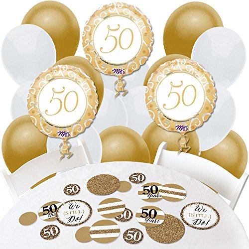 We Still Do - 50th Wedding Anniversary - Confetti and Balloon Anniversary Party Decorations - Combo Kit (Decorations For Wedding Anniversary Party)