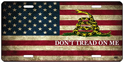 Rogue River Tactical Rustic USA Gadsden Flag License Plate Don't Tread On Me Novelty Auto Car Tag Vanity Gift American Patriotic US