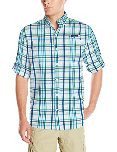 Columbia Mens Super Low Drag Long Sleeve Shirt, Emerald City Open Plaid, Large