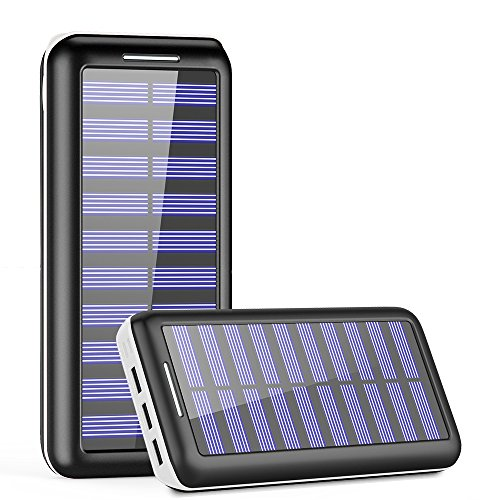Solar Charger, Kedron 24000mAh Portable Charger Power Bank with Dual Input Port and 3 USB Output External Battery Pack for iPhone, iPad, Samsung Galaxy, Android Phones and Other Devices (White)