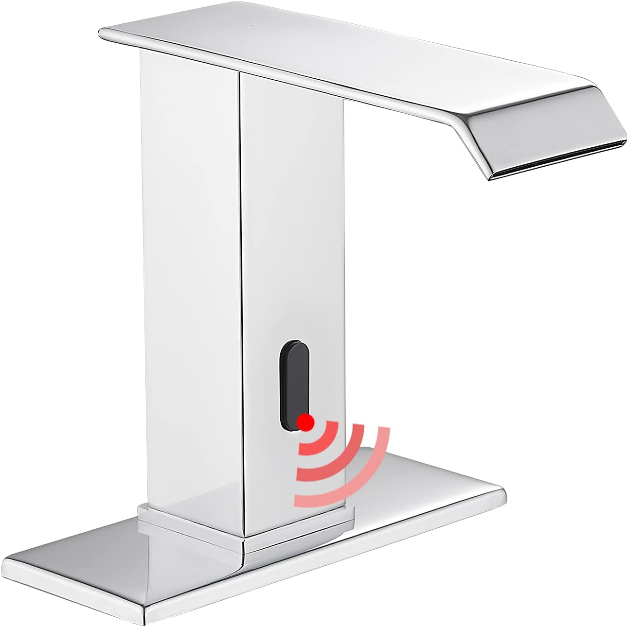Automatic Sensor Chrome Touchless Bathroom Sink Faucet with Hole Cover Plate Vanity Faucets Hands Free Waterfall Bathroom Water Tap with Control Box and Temperature Mixer by GGStudy: Home Improvement