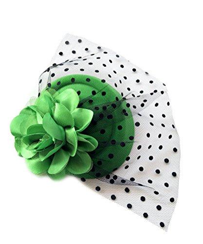 Kentucky Derby Costume (Fascinator Hair Clip Head Hoop Veil Wool Flower Hat Derby Cocktail Party Wedding (Dark Green))