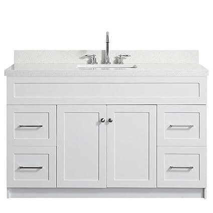 55u0026quot; Inch Bradford Series Single Sink Bathroom Vanity Set In White With  White Quartz Countertop