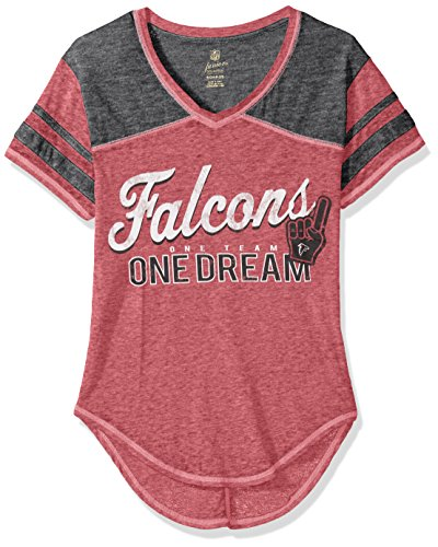 Atlanta Short Falcons Sleeve Youth (OuterStuff NFL Junior Girls Vintage Short Sleeve Football Tee, Atlanta Falcons, Crimson, M(7-9))