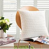 DOKOT 100% Cotton Knitted Decorative Square Warm Throw Pillow Cover / Cushion Cover (18x18inches(45x45cm), White)