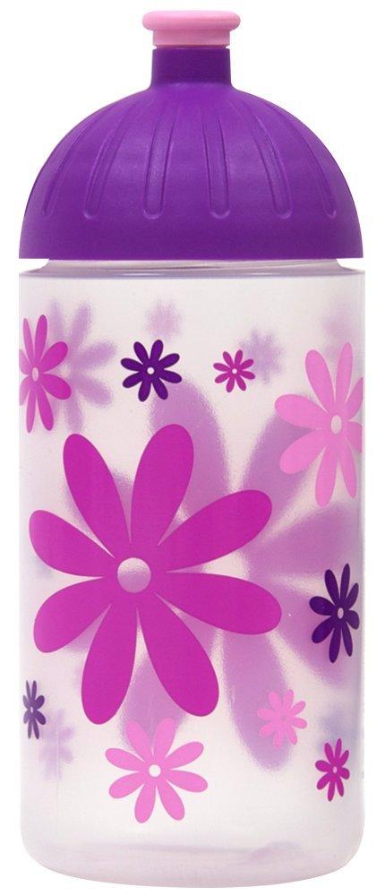 ISYbe Schulkinder Trinkflaschen 0,5 L (BPA-frei, spülmaschinengeeignet, geruchs- & geschmacksneutral) (Blumen, weiß-transparent) spülmaschinengeeignet weiß-transparent)