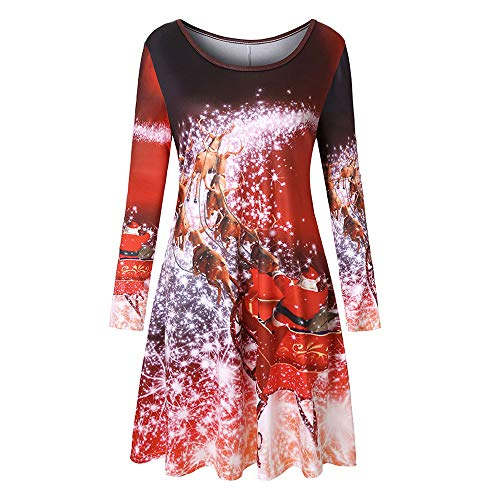 (ZEFOTIM Women Long Sleeve Vintage Xmas Christmas Printing Round Neck Party Dress(Large,Red))