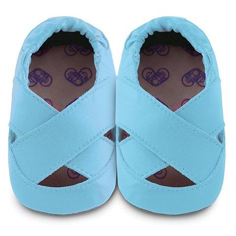 ShooShoos - Zapatitos de piel suela blanda, bailarina azul, talla l (12 a 18 meses) azul