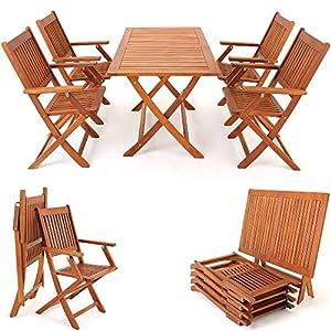Deuba | Ensemble de Jardin 4+1 • en Bois d'acacia certifié FSC® • Sydney • 1 Table et 4 chaises Pliables | Salon de…