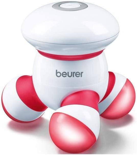 Beurer MG16 - Masajeador Mini aparato Vibratorio, con luz LED, color blanco y rojo
