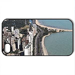 Beach Life - Case Cover for iPhone 4 and 4s (Skyscrapers Series, Watercolor style, Black)