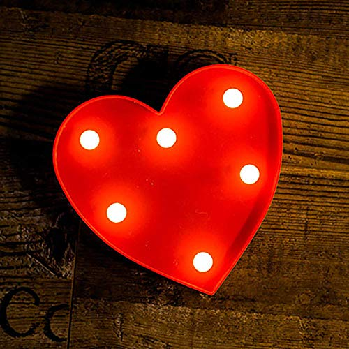 Focux LED Marquee Letter Lights Alphabet Light Up Sign for Night Light Home Party Birthday Wedding Bar Decoration LED Letter Battery Powered Christmas Night Light Lamp Home Bar Decoration (#Heart-Red)