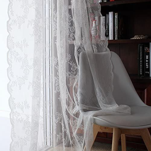 JOLIN Sheer Panels White Lace Curtains Living Room Shade Balcony Drape