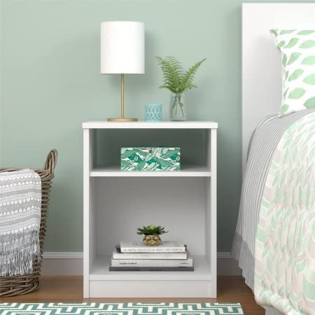 Mainstays Nightstand Features Open Top Shelf and Bottom Cubby No USB, White