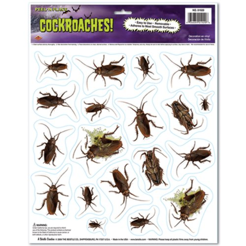 [Beistle Cockroaches Peel 'N Place for Halloween Party, 12-Inch by 15-Inch] (Cockroach Costumes)