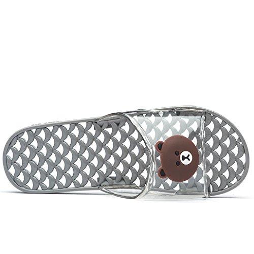 Femmes Hommes Couple Bain Intérieur Et D'été De Plastique En Pantoufles Pantoufles Gray Rq6twXz