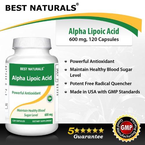 Best Naturals Alpha Liopic Acid 600 mg 120 Capsules - ALA Alpha Lipoic Acid Powerful Antioxidant Discount