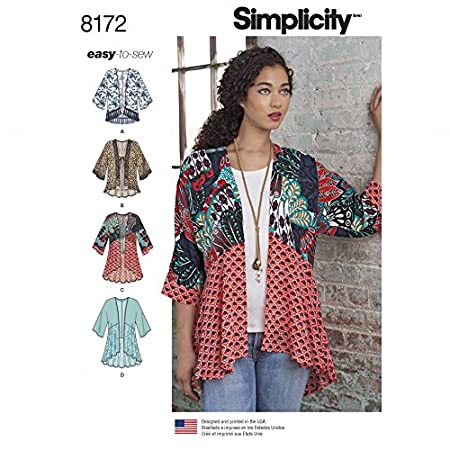 Simplicity Ladies Easy Sewing Pattern 8172 Kimono Tops with Length ...