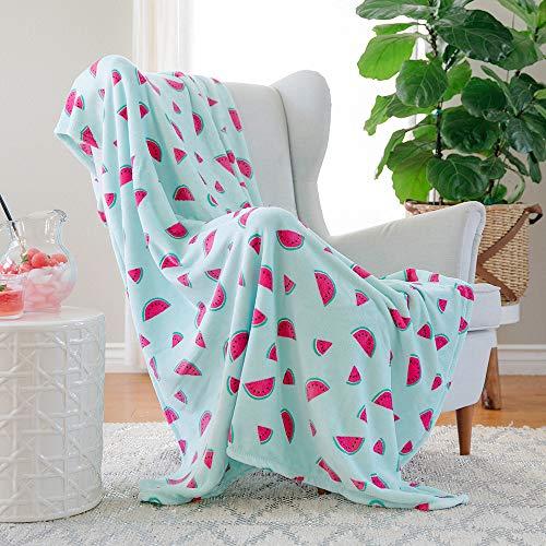 AVAFORT Velvet Plush Home Fleece Throw Blanket (Tossed Watermelon, 50