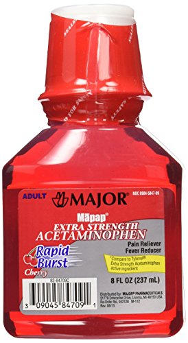 MAJOR Mapap Adult Rapid Extra Strength Acetaminophen Liquid Medication, Burst Cherry, 8 Fl. Oz, 3 Count