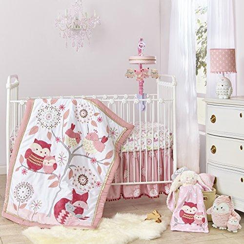 Happi by Dena Woodland Couture Forest Animals 3 Piece Crib Bedding Set, Pink/White [並行輸入品]   B07CTBP9ZR