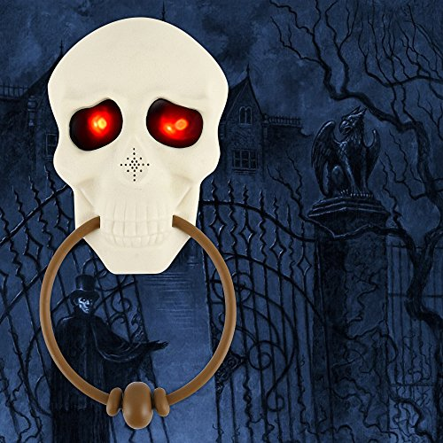 Halloween Horror Doorbell Skull Ghostly with Lights up Eyeball and Talking Scary Sounds Props Tricky Toy Haunted House Glow Horror Doorbell For Party Door Decoration -