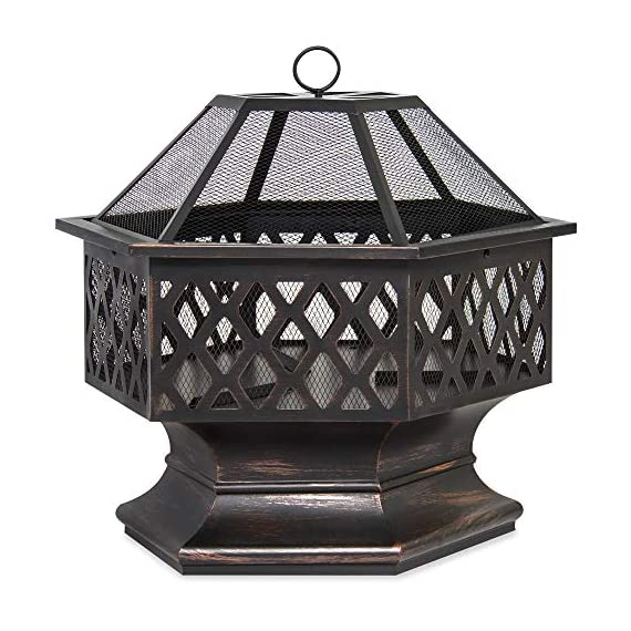 Best Choice Products 24in Hex-Shaped Steel Fire Pit Decoration Accent for Patio, Backyard, Poolside w/Flame-Retardant Lid - Black - Made with a durable steel construction, finished in a distressed bronze with a gorgeous rustic lattice design Features a deep and wide hex-shape bowl capable of holding a lot of firewood The fire-retardant lid does a great job at limiting ashes emitting from use - patio, outdoor-decor, fire-pits-outdoor-fireplaces - 51Pl7AlfcPL. SS570  -