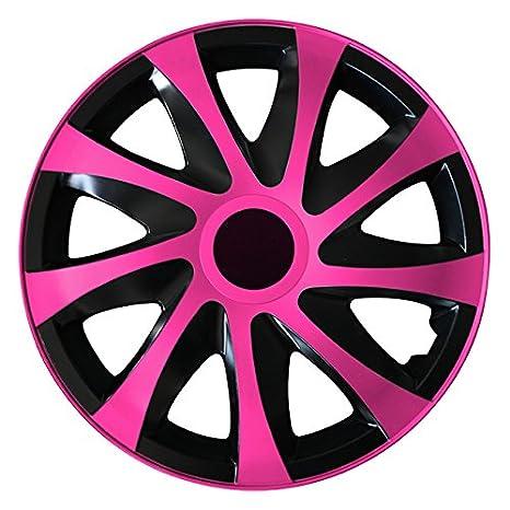 (tamaño a elegir) Tapacubos/Tapacubos DRACO bicolor (Negro de color rosa)