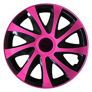 (tamaño a elegir) Tapacubos/Tapacubos DRACO bicolor (Negro de color rosa) apto para casi todos los tipos de vehículos (universal): Amazon.es: Coche y moto