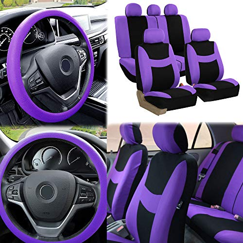 FH Group Fabric Full Set Seat Covers (Airbag & Split) w. Silicone Steering Wheel Cover, Purple/Black - Fit Most Car, Truck, SUV, or Van