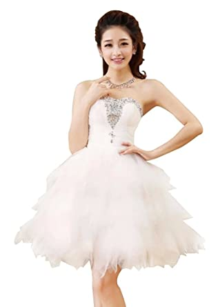 Drasawee Strapless Beaded Ball Gown fluffy Junior Short Prom Dress Bridesmaid Gowns White UK18