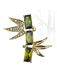 JewelleryClub Men Chinese Bamboo Brooch Green Swarovski Elements Crystal Cubic Zirconia Scarf Ring Brooch Pin for Suit