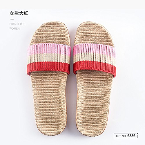 anti Red indoor of and men couple floor wooden home slippers summer home slip 39 Deodorization 40 slippers cool women fankou Linen and silent 8n4wCzqBxA