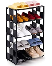 NiArt 5-Tier Shoe Rack Stackable and Adjustable Lightweight Space Saving Metal Shoe Organizer, Small 10 Pairs Shoe Storage Shelf Free Standing for Closet Hallway Entryway Living Room Bedroom (Black)