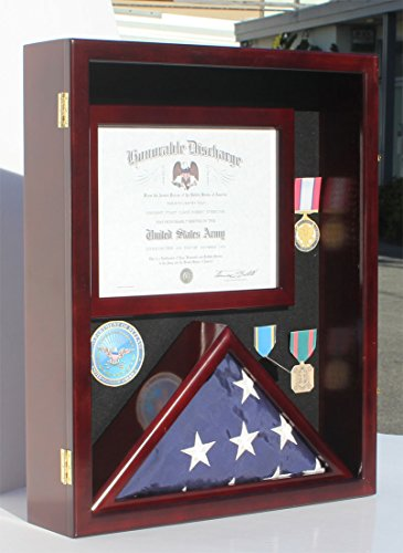 Military Shadow Box 3 X5 Flag Display Case For