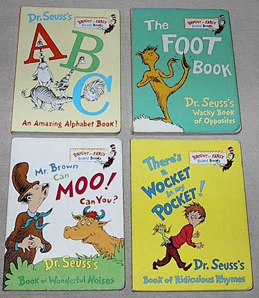 Dr. Seuss Bright and Early Board Books set: Dr. Seuss's ABC; The Foot Book; Mr. Brown Can Moo! Can You?; There's a Wocket in My Pocket!