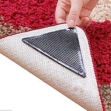 Xiao&fei 8 Pieces Amazing Reusable Washable Triangle Non Slip Skid Rug Grippers Carpet Mat Stickers (Triangle Soap Lotion)