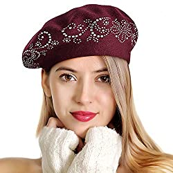 Burgandy Rhinestones 2 Layers Wool French Hat