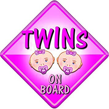 Personalised Baby On Board Car Sign Pink//Pink Twins