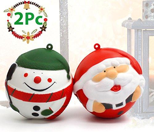 BUDI 2Pc Christmas Squishies Soft&Kawaii Christmas Decorations Slow Rising Snowman/Santa Clause Xmas Ornaments Squishies Toys