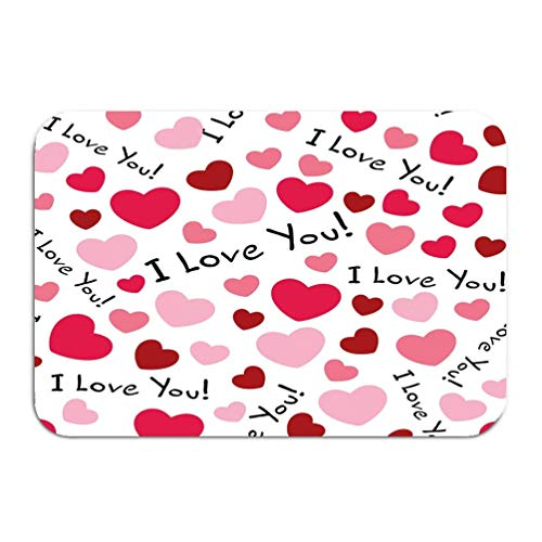 YGUII Outside Shoe Non-Slip Color Dot Doormat i Love You Background Hearts can be Used Celebrations Wedding Invitation Mothers Day Valentines Day Halftone Mats Entrance Rugs Carpet 48(L) x 16(W) Inch