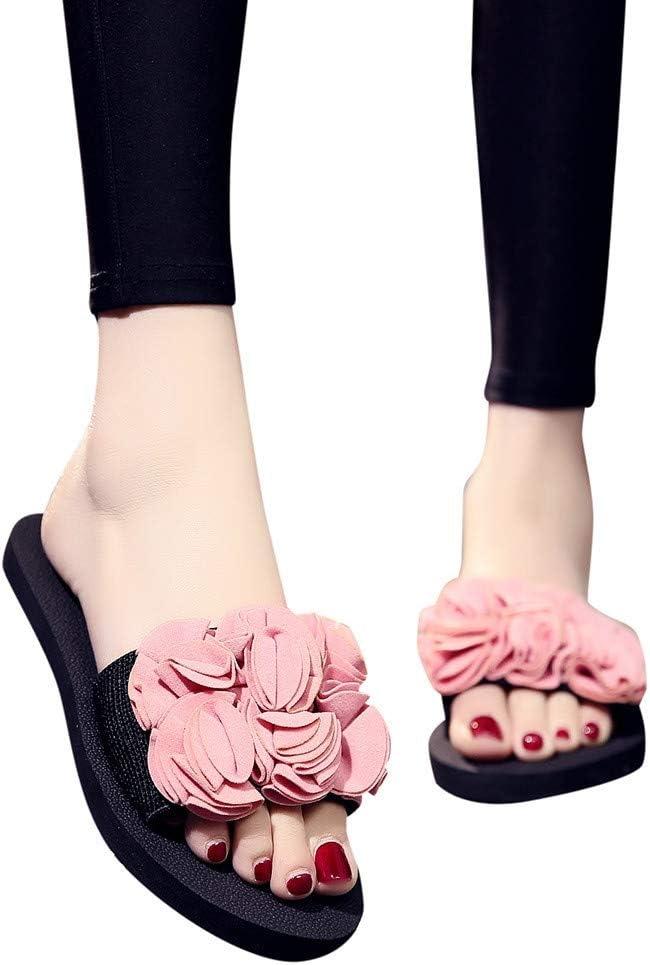 Womens Slides Bummyo Ladies Bohemian Flower Slides Flat Slippers Summer Open Toe Sandals Non-Slip Casual Beach Shoes 7M US, Black
