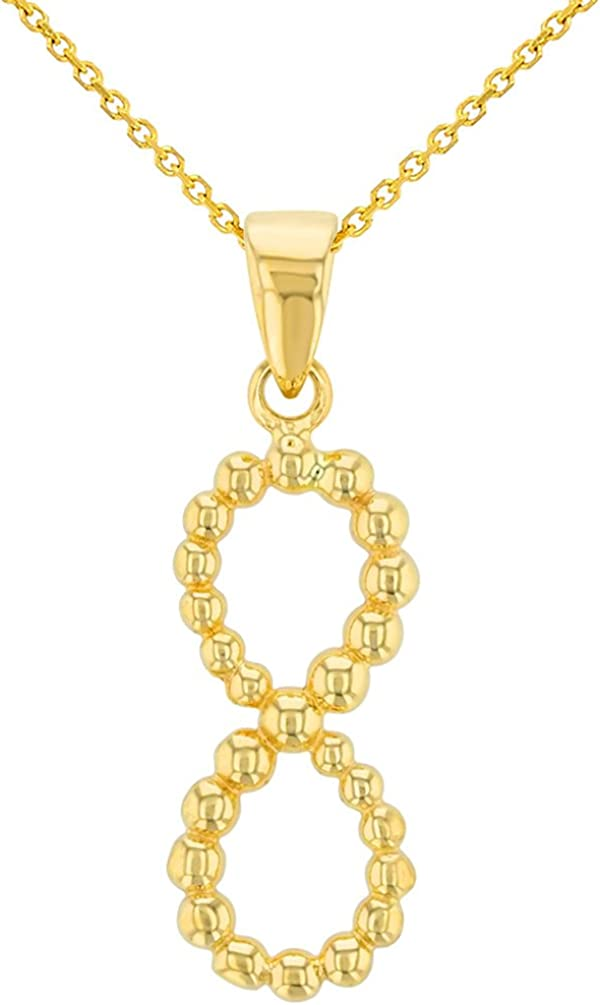 14K Yellow Gold Beaded Vertical Infinity Pendant Necklace