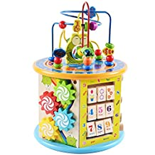 Wooden Bead Maze, TechCode Wooden Activity Cube Centre 8 in 1 Multi-Purpose Learning Educational Toy Baby Centre Cube Bead Maze for Kids Baby Toddlers, Great Birthday Gift for Boys Girls
