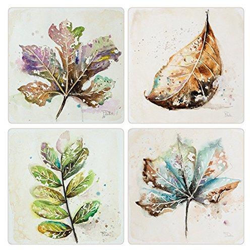 Set Coaster Absorbastone - CoasterStone Global Leaves Absorbent Coasters (Set of 4), 4-1/4