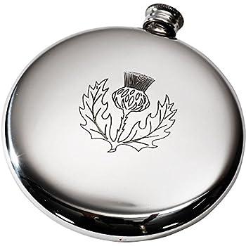Plain Polished Round Pewter Sporran Flask Wentworth Pewter Spirit Flask 4oz Capacity