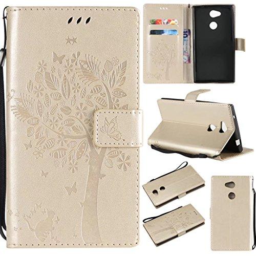 Sony Xperia L2móvil, cowx funda de piel sintética para Sony Xperia L2funda Árbol para gatos oro