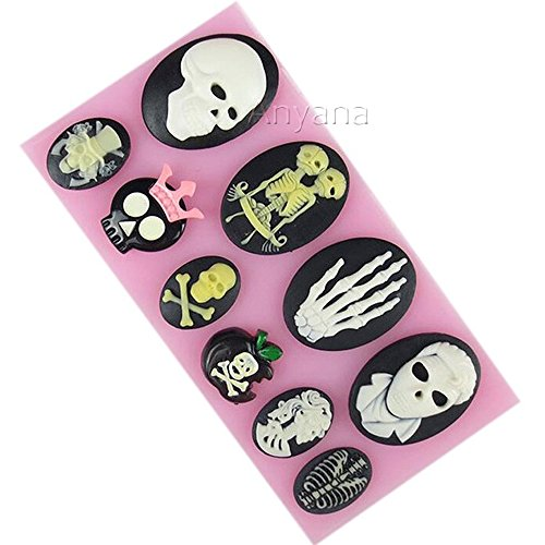 Anyana Skull Skeleton Fondant Silicone Mold Soap Chocolate Mould Baking Cake decorating Tool cupcake Decoration Pastry Gumpaste Kitchen Sugarcraft Baking cooking Cookie Halloween]()
